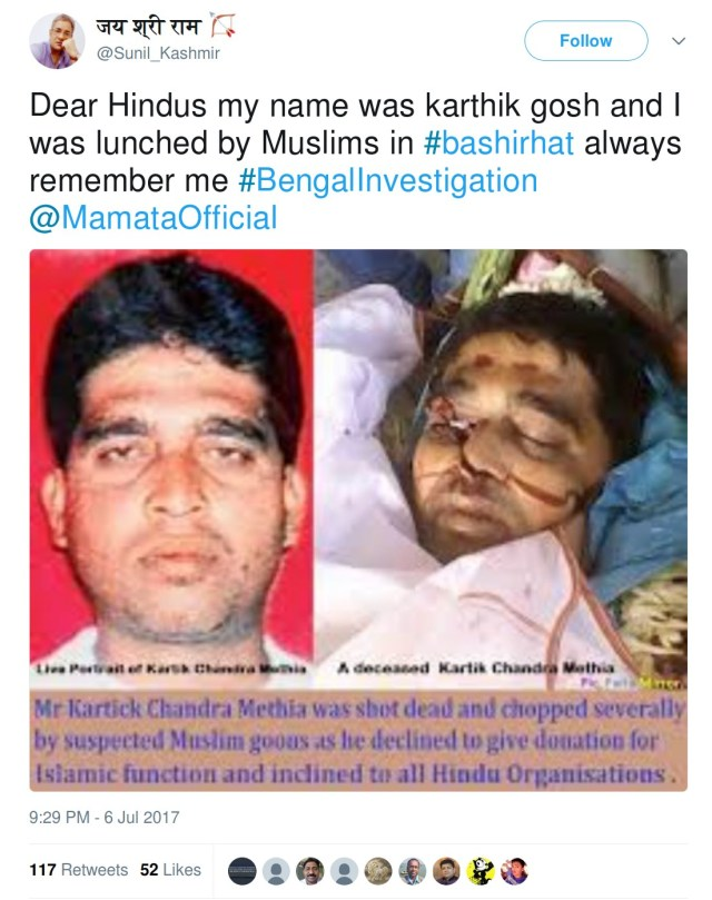 Sunil Kashmir, Dear HIndus my name was karthik gosh and I was lunched by Muslims in bashirhat always remember me