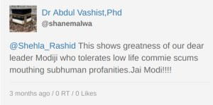 This shows greatness of our dear leader Modiji who tolerates low life commie scums mouthing subhuman profanities. Jai Modi!!