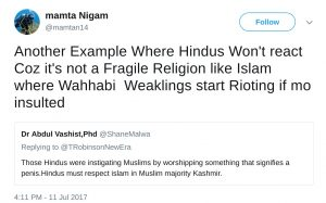 Mamta NIgam mamtan14 Another Example Where Hindus Won't react Coz it's not a Fragile Religion like Islam where Wahhabi Weaklings start Rioting if mo insulted
