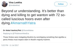 vina leekha vinaleekha1 beyond ur understanding. it's better than dying and killing to get wanton with 72 so called luscious hoors even after dying. #AmarnathYatra.