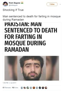 Shocking if true, man sentenced to death for farting in mosque during ramadan