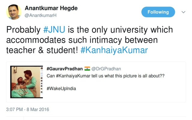 Anantkumar Hegde probably jnu is the only university which accomodates such intimacy between teacher & student