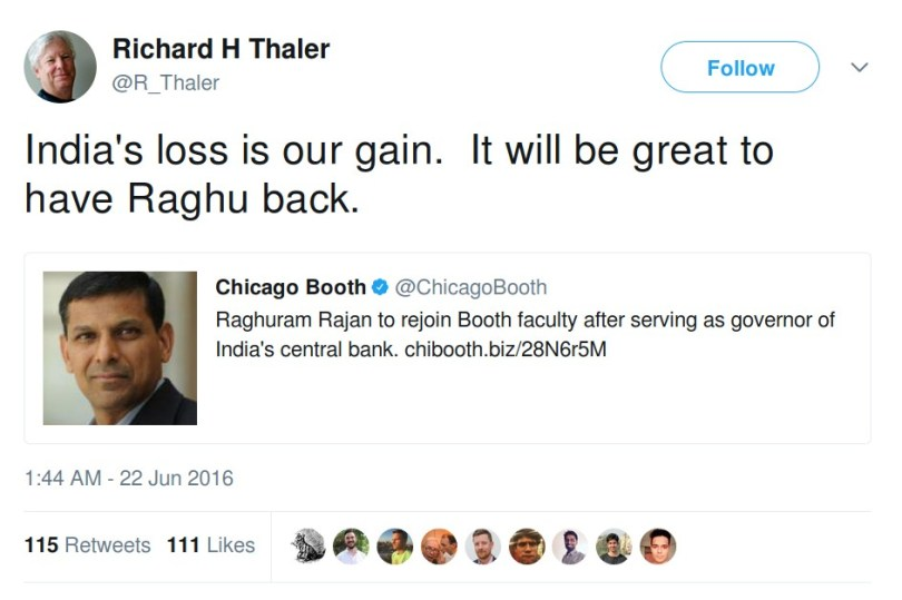 Richard Thaler It will be great to have raghu back