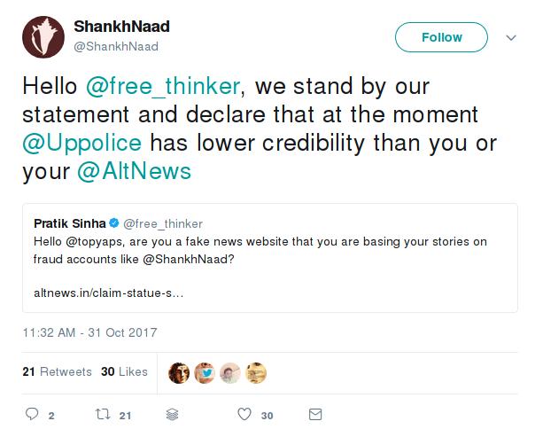 shankhnaad refused to delete fake post