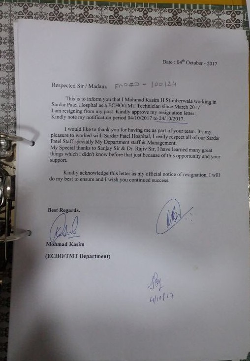 Resignation letter of the accused