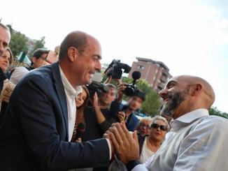 Nicola Zingaretti, Maurizio Martina e Vincenzo Bianconi a Gualdo Tadino