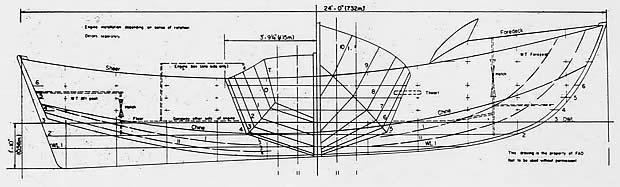 Disegno della prima carena a V profondo disegnata da Sonny Levi nel 1958