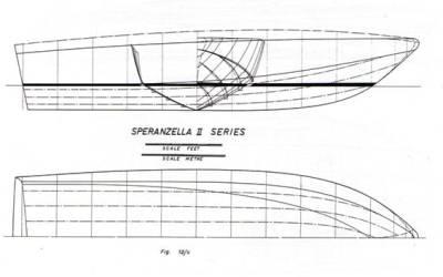 Speranzella II Series (Cabin Cruiser) disegni di Sonny Levi sezioni ordinate-chiglia-linee d'acqua