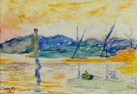 Paul Signac 1899 Entrée du port de Saint Tropez au soleil couchant