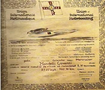Certificato UIM record mondiale classe Runabout E4