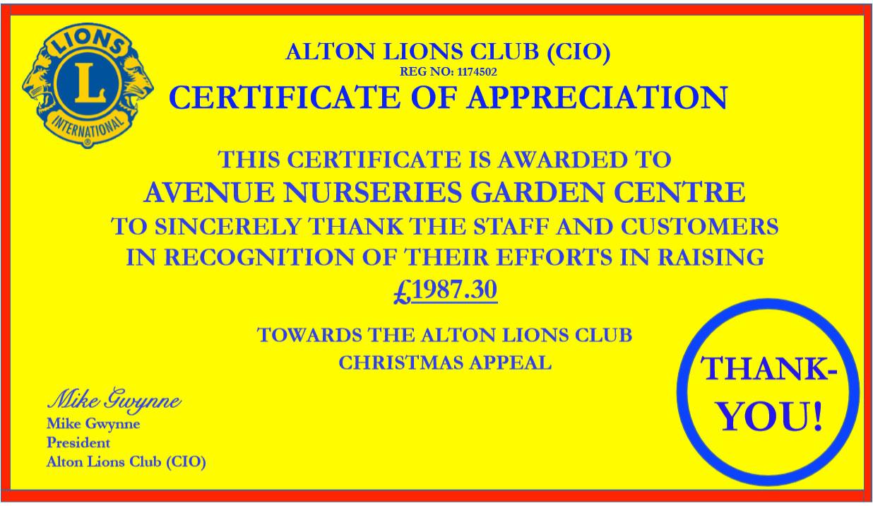 Letter certificate of appreciation to avenue nurseries garden letter certificate of appreciation to avenue nurseries garden centre yadclub Choice Image