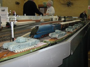 Trains passing on the O Gauge Normandy Junction