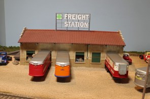 Trailers are unloaded at the Pine Bluffs Freight Station