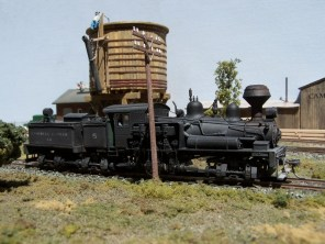 Shay Number 5, operated by Campbell Lumber Company, takes water at Pine Bluffs