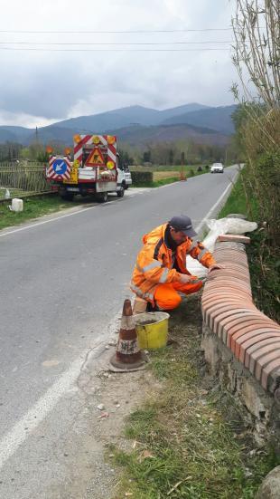 Lavori in corso al muretto in via di Ponte Maggiore a Massa Macinaia