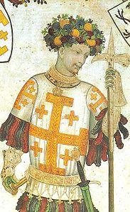 Godfrey_of_Bouillon_holding_a_pollaxe._Manta_Castle_Cuneo_Italy