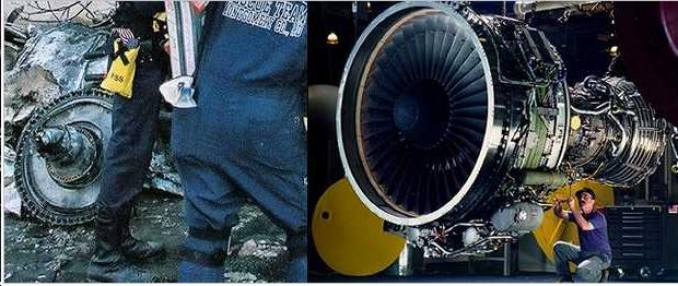 A sinistra la foto della turbina che la versione ufficiale ha attribuito al volo di linea  e a destra invece una vera turbina Rolls Royce per Boeing 757