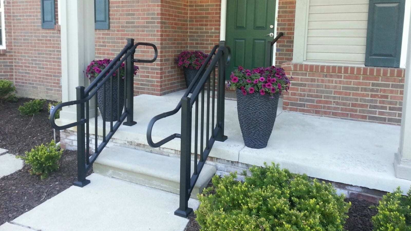 Handrail Return Requirements Aluminum Handrail Direct | Disabled Handrails For Outside Steps | Elderly | Full Width | 2 Step | Outdoor | Industrial Pipe