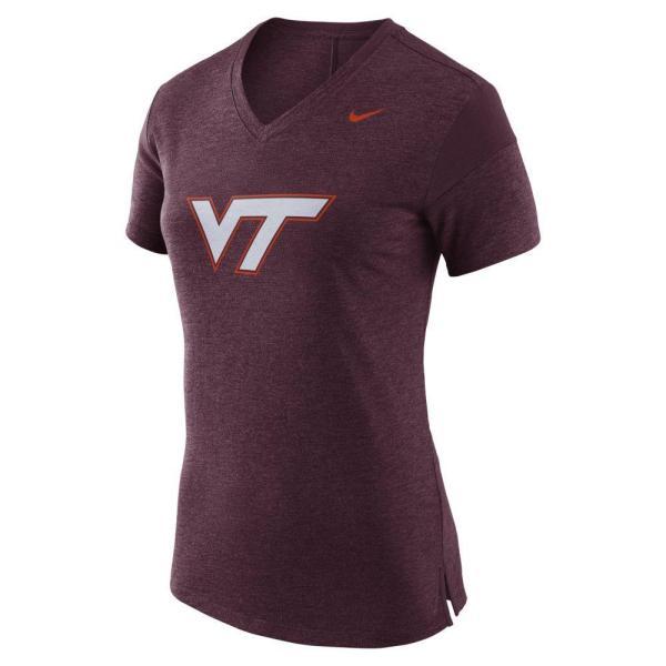 Hokies- Virginia Tech Nike Women's V Neck Short Sleeve Fan ...