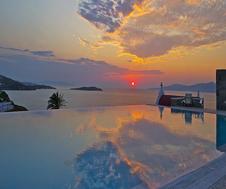 Mykonos pool at sunset