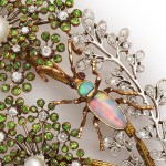 Antique Demantoid and Diamond Spray, opal bug