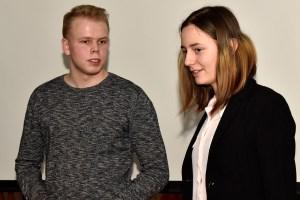 Jevgenia Sarapova och Hugo Ebenfeldt, från Elevrådet på Älvsbyns gymnasium.