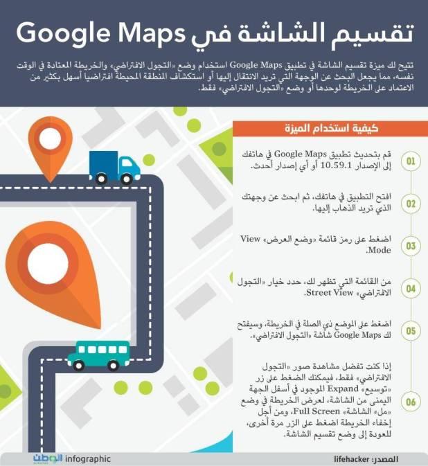 تقسيم الشاشة في خرائط جوجل ماب
