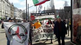 جبهة النضال الشعبي تنظم وقفة في مانشستر تضامناً مع مسيرة العودة