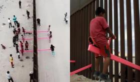 """بالفيديو.. """"مراجيح وردية"""" تخترق جدار ترامب الحدودي مع المكسيك.. كبار وأطفال من الجانبين يلعبون سوياً"""