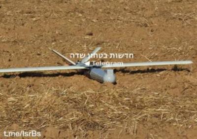 بالصور: جيش الاحتلال يزعم اعتراض طائرة مسيرة من قطاع غزة