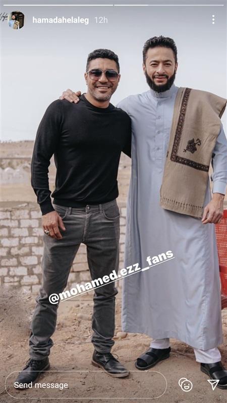 حمادة هلال ومحمد عز من كواليس مسلسل المداح