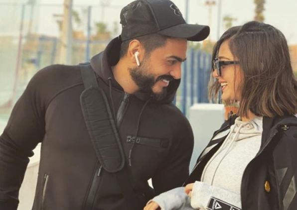 شاهد تامر حسني بوصلة غزل مع زوجته بسمة بوسيل