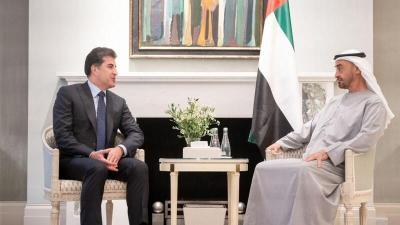 بارزاني يبحث مع محمد بن زايد مستقبل العراق وتطورات المنطقة