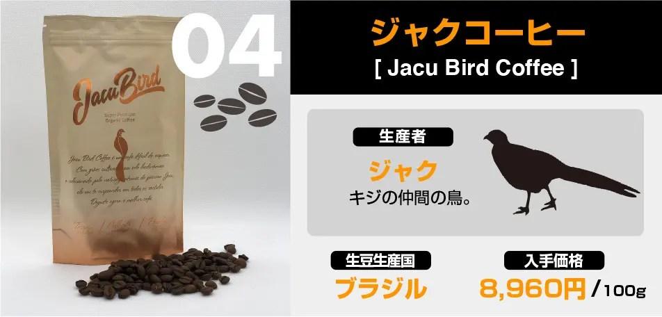 ジャクというキジの仲間の鳥から採取した「ジャクコーヒー」