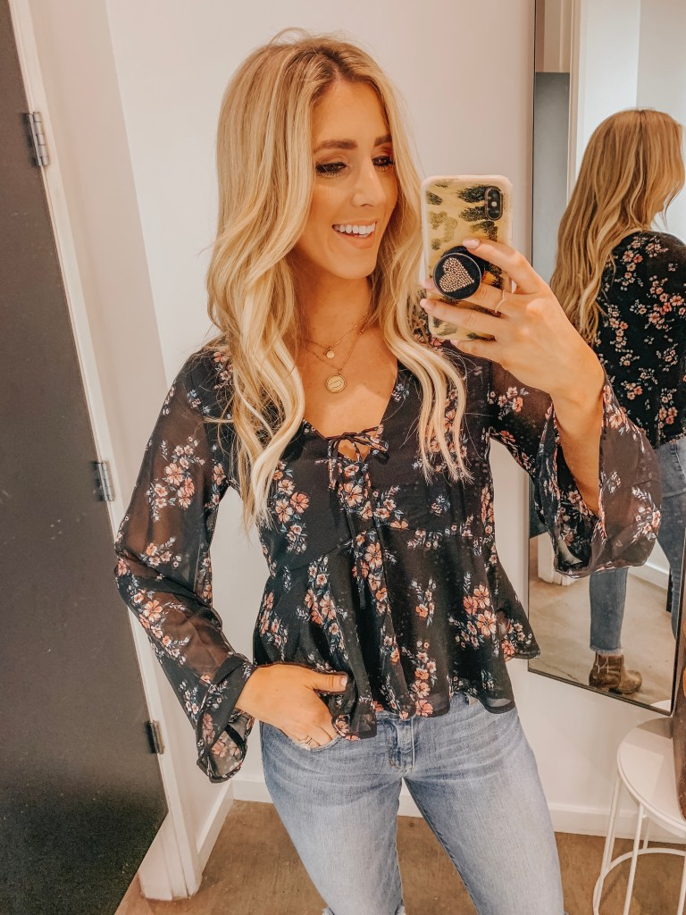 7341f17befdba H&M floral vneck blouse peplum black pink tie front with jeans alwaysmeliss  affordable clothing HM.