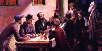חסידים בהתוועדות - ציור של ר' זלמן קליינמן