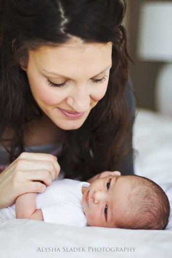 newborn, mom and baby