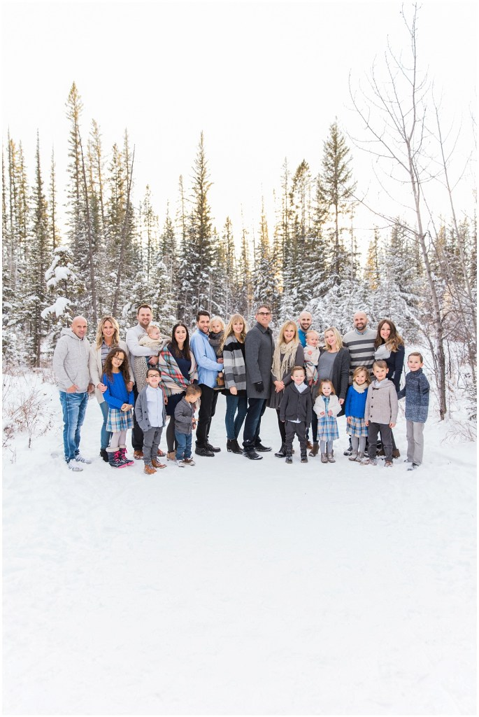 extended family photos, winter family photos, large family posing ideas