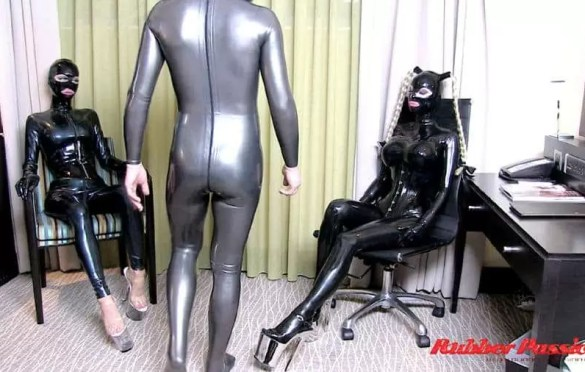 TWIN LATEX CATSUIT THREESOME