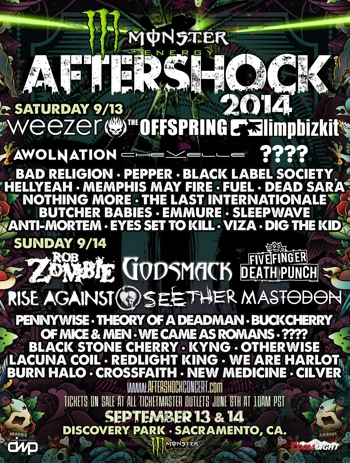 Monster Energy's AFTERSHOCK Festival 2014 flyer with daily band lineup