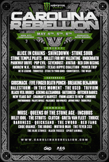 Monster Energy Carolina Rebellion flyer with band lineup and venue details