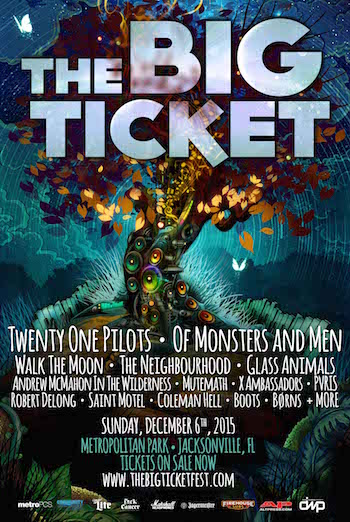 The Big Ticket flyer with band lineup and venue information