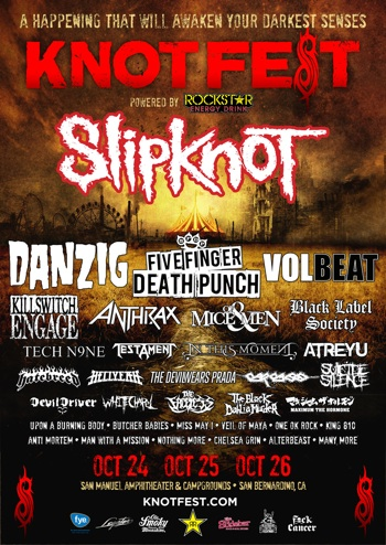 KNOTFEST flyer with band lineup