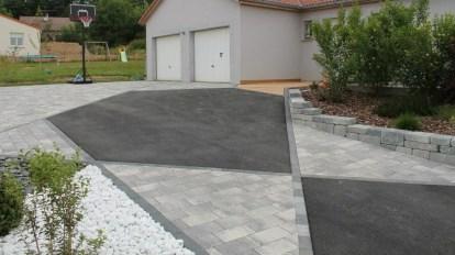 Accès de garage design pavés et enrobé, Epinal