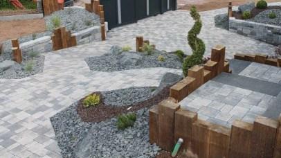 Aménagement paysager mixte bois et pierre, Epinal