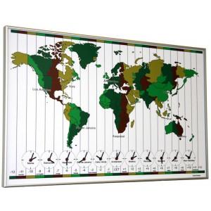 Wereldklok met 11 uurwerken voor kantoor