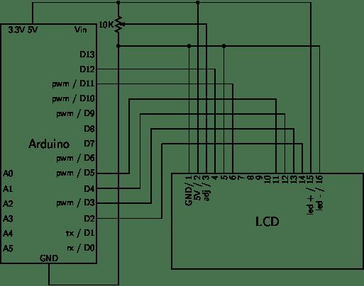 আরডুইনো দিয়ে এলসিডি ইনটারফেসিং সার্কিট ডায়াগ্রাম এলসিডি আরডুইনো টিউটোরিয়ালঃ এলসিডি ডিসপ্লে তে লিখুন যা খুশি ARduino and LCD interfacing diagram