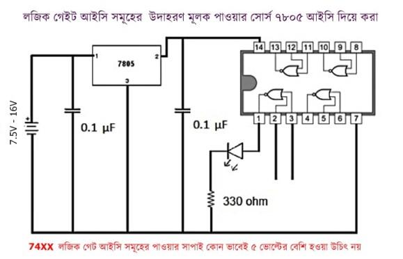 লজিক গেট আইসি সমূহের উদাহরণ মূলক পাওয়ার সাপ্লাই