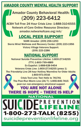 Amador County Mental Health Support Hotline