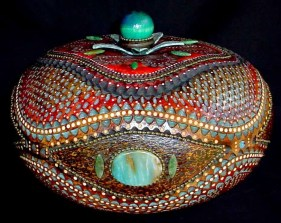 Gourd with turquoise by Joyce Campbell.